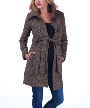 Brown Tie-Waist Maternity Coat