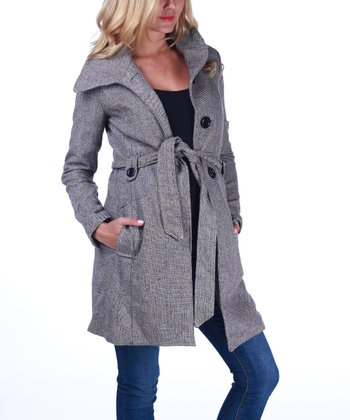 Gray Tie-Waist Maternity Coat