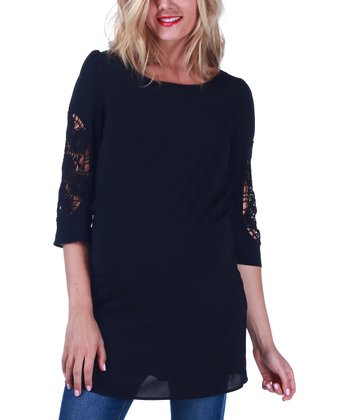 Black Crocheted-Sleeve Maternity Tunic - Women