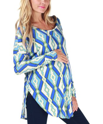 Blue & White Diamond Maternity Top
