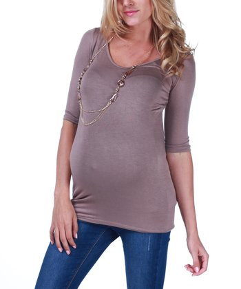 Mocha Maternity Three-Quarter Sleeve Top & Necklace