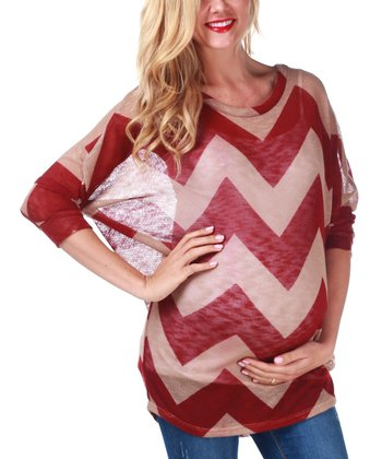 Burgundy & Beige Sheer Zigzag Maternity Top