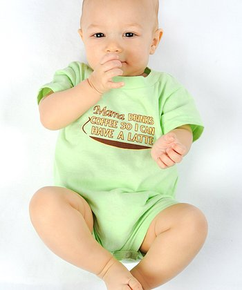 Mint Green 'Mama Drinks Coffee' Romper - Infant