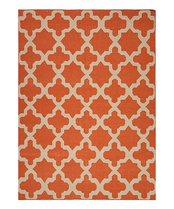Orange Flat Weave Geometric Pattern Wool Rug