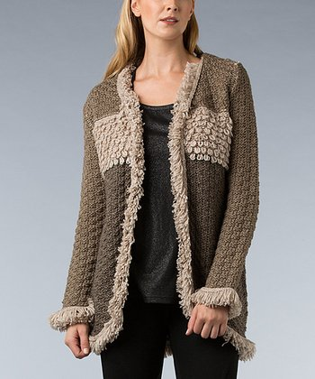 Brown Color Block Loop-Knit Wool-Blend Open Cardigan