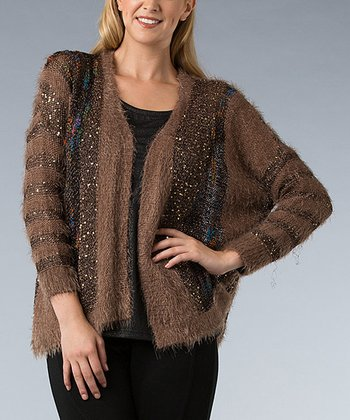 Brown Metallic Knit Open Cardigan
