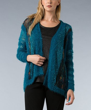 Teal Metallic Knit Open Cardigan - Women