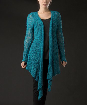 Dark Turquoise Straw-Knit Open Cardigan