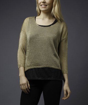 Gold Metallic Sweater - Women