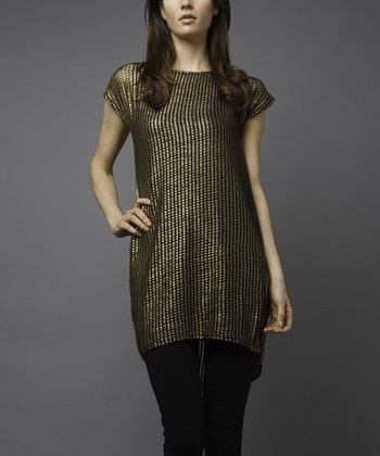 Gold Cap-Sleeve Hi-Low Tunic