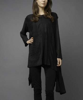 Black Four-Square Sidetail Sweater