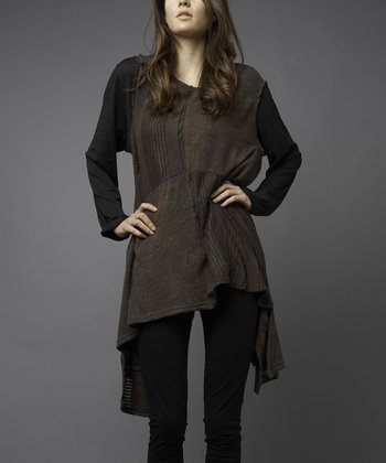 Chocolate Brown Four-Square Sideatail Sweater