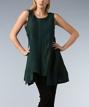 Green Four-Square Knit Sleeveless Swing Tunic
