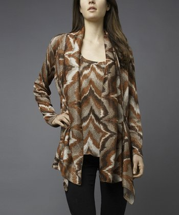 Brown & Rust Abstract Zigzag Tank & Cardigan Set