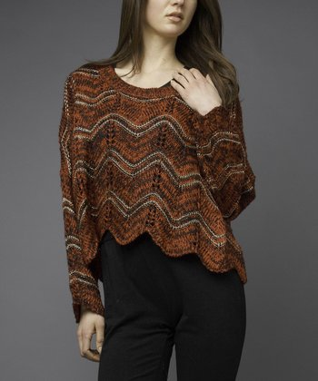 Rust & Black Zigzag Sweater
