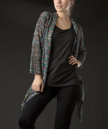 Blue & Green Three-Quarter Sleeve Rainbow Knit Open Cardigan