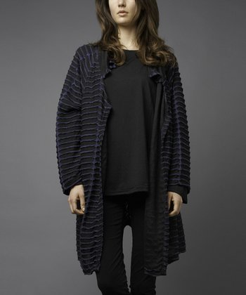 Black & Blue Three-Quarter Sleeve Stripe Cutout Open Cardigan