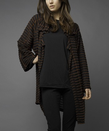 Black & Copper Stripe Cutout Open Cardigan - Women