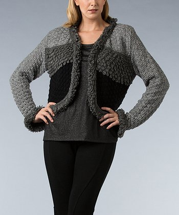 Black Color Block Loop-Knit Wool-Blend Shrug