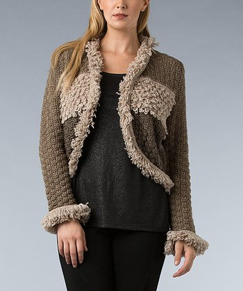Brown Color Block Loop-Knit Wool-Blend Shrug - Women