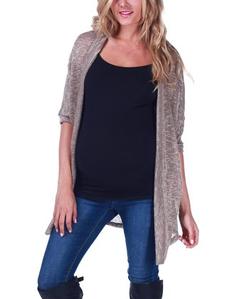 Taupe Crocheted Back Maternity Cardigan