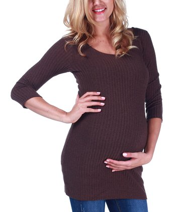 Brown Textured Maternity Sweater
