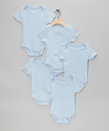 Blue Short-Sleeve Bodysuit Set - Infant