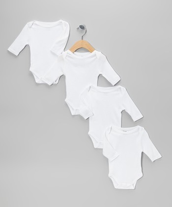 White Long-Sleeve Bodysuit Set - Infant