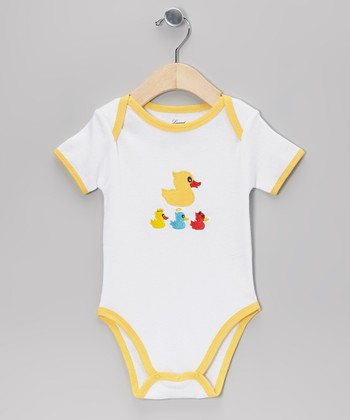 White & Yellow Duck Bodysuit - Infant