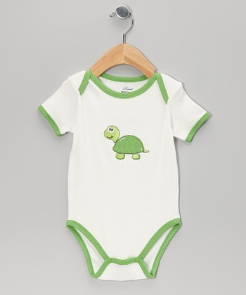 White & Green Turtle Bodysuit - Infant