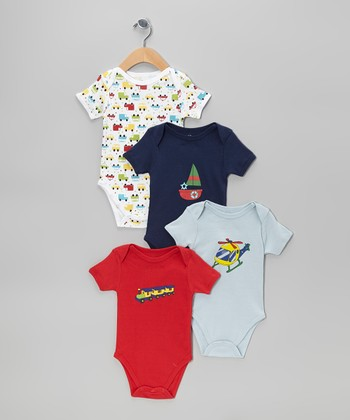Red & Blue Transportation Bodysuit Set - Infant