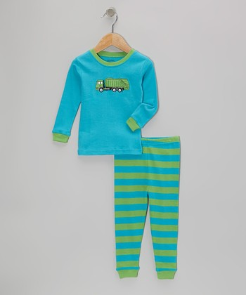 Teal & Green Garbage Truck Pajama Set - Infant, Toddler & Kids