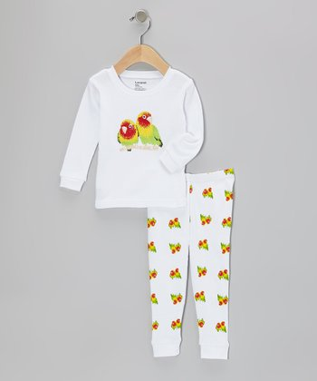 White Parrot Pajama Set - Infant, Toddler & Girls