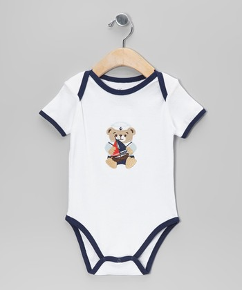 White & Navy Bear Bodysuit - Infant