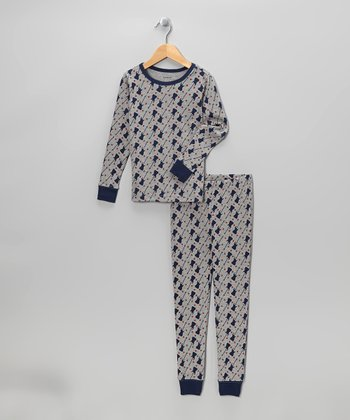 Gray & Blue Guitars Pajama Set - Boys