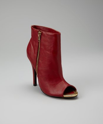 Red Peep-Toe Common Ankle Bootie