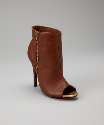 Brown Peep-Toe Common Ankle Bootie