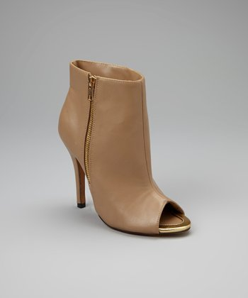 Nude Peep-Toe Common Ankle Booties