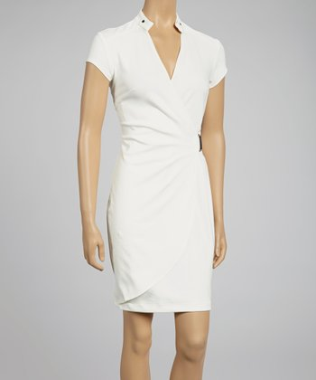 Ivory Faux Wrap Dress