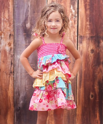 Pink Patchwork Tiered Ruffle Dress - Toddler