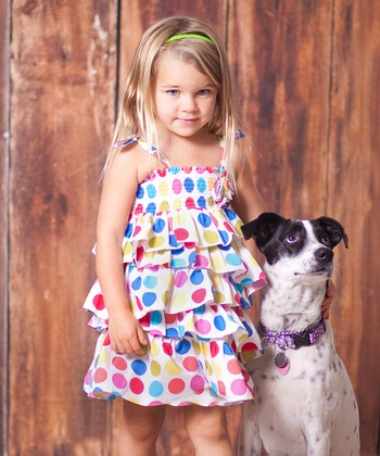 Rainbow Polka Dot Tiered Dress - Toddler & Girls