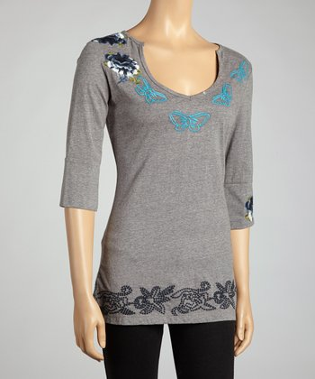 Heather Gray Butterfly Three-Quarter Sleeve Top