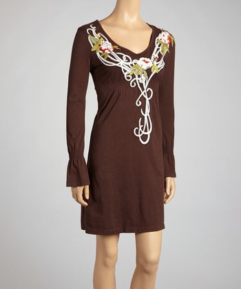 Brown Rose Empire-Waist Dress