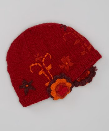 Red Rosette Wool Beanie - Women