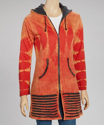 Orange Contrast Razor-Cut Long Hoodie - Women