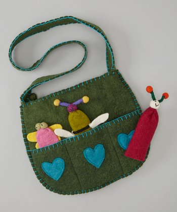 Green Bug Wool Shoulder Bag