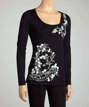 Black Birds & Blossoms Long-Sleeve Top