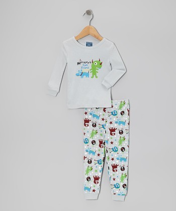 Gray 'Monster's Best Friend' Pajama Set - Infant