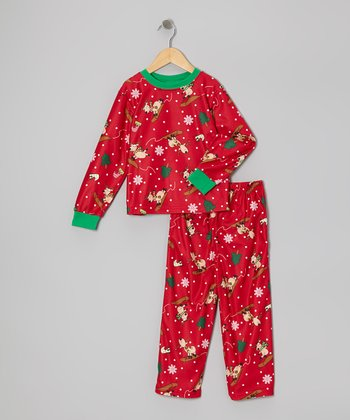 Red Silly Reindeer Pajama Set - Toddler & Kids