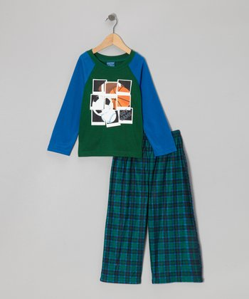 Green & Blue Sport Plaid Pajama Set - Boys